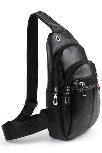 Wholesale - Black Faux Leather Crossbody Sling Bag with Headphone Hole and Zipper Compartments