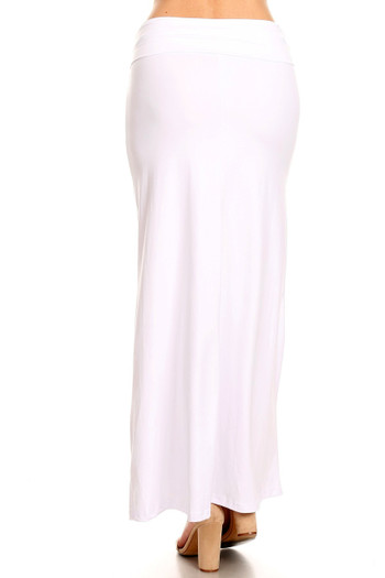 Wholesale - Buttery Soft Solid White Maxi Skirt - Plus Size
