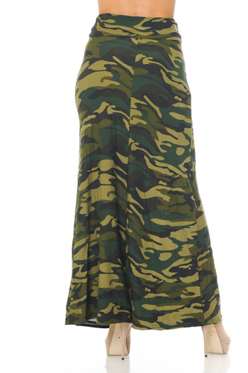 Wholesale - Buttery Soft Green Camouflage Plus Size Maxi Skirt