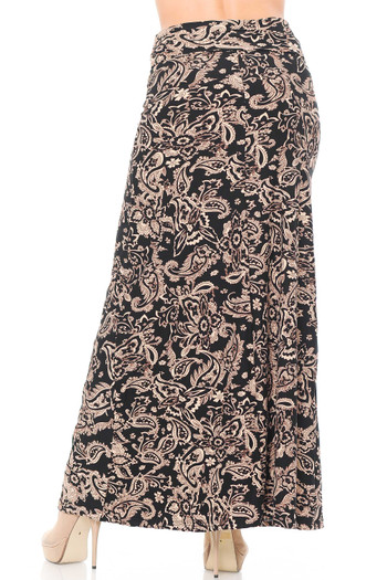 Wholesale - Buttery Soft Sand Pepper Paisley Plus Size Maxi Skirt