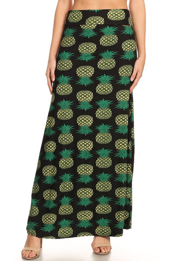 Wholesale - Buttery Soft Green Pineapple Maxi Skirt - Plus Size