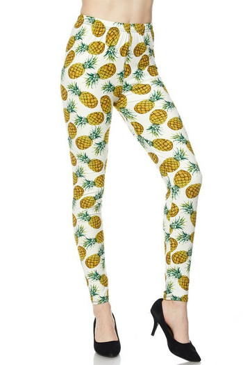 Wholesale - Buttery Soft Ivory Pineapple Leggings - Plus Size