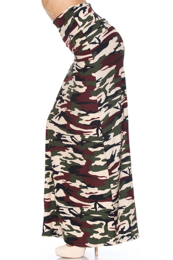 Wholesale - Buttery Soft Cozy Camouflage Maxi Skirt