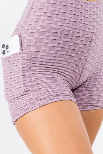Light Purple Wholesale - Solid Textured Scrunch Butt Sport Shorts with Pockets