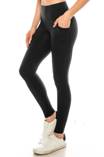 Wholesale - Solid High Waisted Black Workout Leggings with Side Pockets