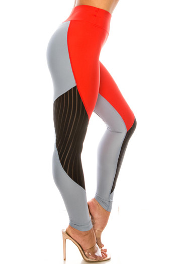 Wholesale - Red Wave Mesh High Waisted Sport Leggings