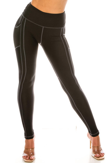 Wholesale - White on Black Contrast Heart Stitch High Waisted Sport Leggings