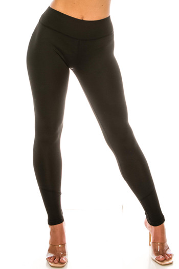 Wholesale - Sleek Faux Leather Accented Mesh High Waisted Sport Leggings