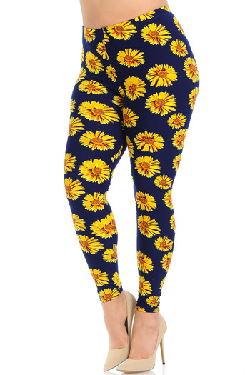 Buttery Soft Summer Daisy Extra Plus Size Leggings - 3X-5X