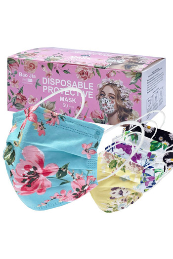 Wholesale - Beautiful Floral Disposable Surgical Face Mask - 50 Pack - 5 Styles