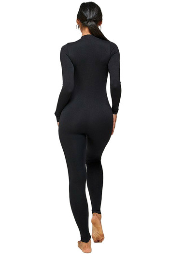 Full Basic Seamless Jumpsuit with Half Center Zip