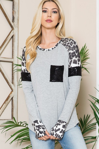 Wholesale - Leopard Contrast Sequin Pocket Long Sleeve Top with Thumbholes