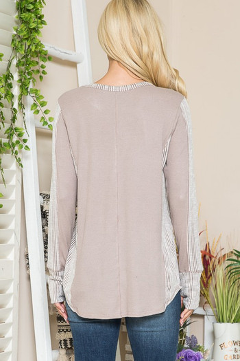 Wholesale - Taupe Rib Contrast Thermal Long Sleeve Top with Thumbholes