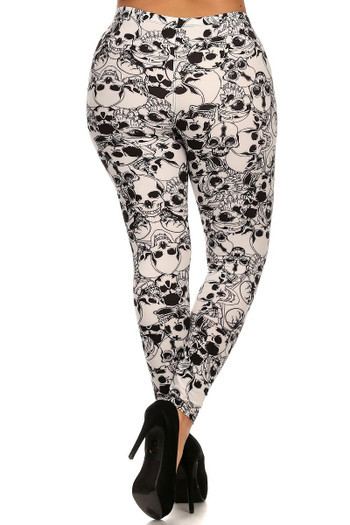 Wholesale - Buttery Soft White Layers of Skulls Plus Size Leggings