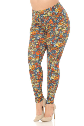 Buttery Soft Charcoal Rose and Skulls Plus Size Leggings