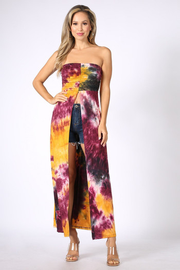 Front of Burgundy Tie Dye Ruched Split Front Maxi Duster Tube Top