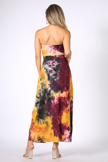 Back of Burgundy Tie Dye Ruched Split Front Maxi Duster Tube Top
