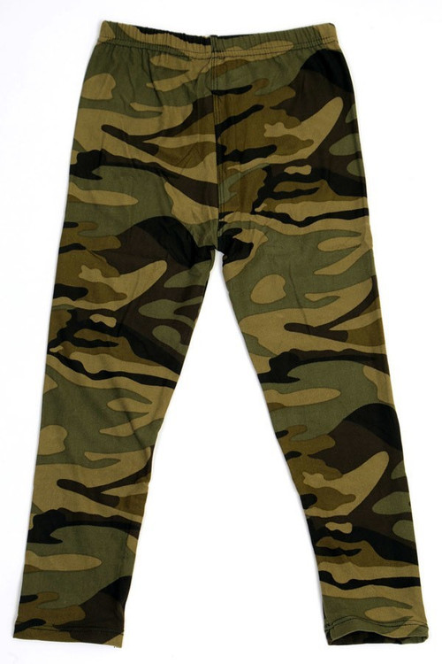 Wholesale - Buttery Soft Green Camouflage Kids Leggings