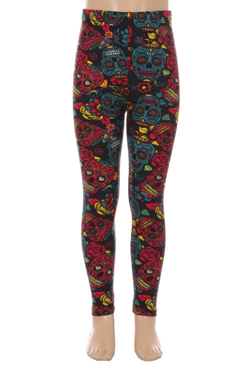 Wholesale - Buttery Soft Red and Blue Sugar Skulls Kids Leggings