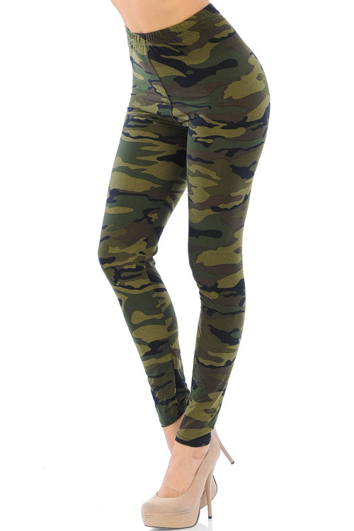 Wholesale - Buttery Soft Green Camouflage  Leggings