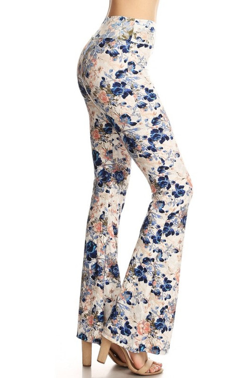 Wholesale - Buttery Soft Picasso Floral Bell Bottom Leggings