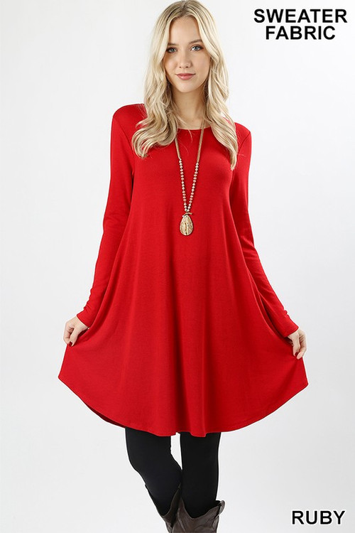 Wholesale - Premium Long Sleeve Sweater Longline Tunic with Pockets