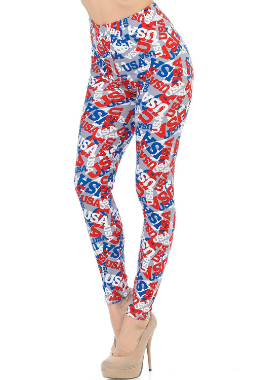 Wholesale - Buttery Soft All Over USA Leggings