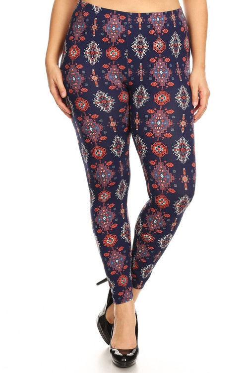 Wholesale - Buttery Soft Vertical Mayan Mirage Floral Plus Size Leggings