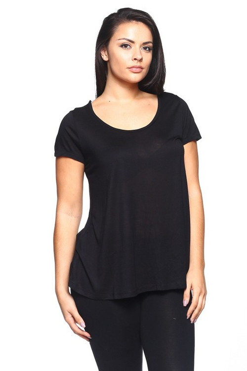 Wholesale - Scoop Neck Basic Solid Plus Size Rayon T-Shirt