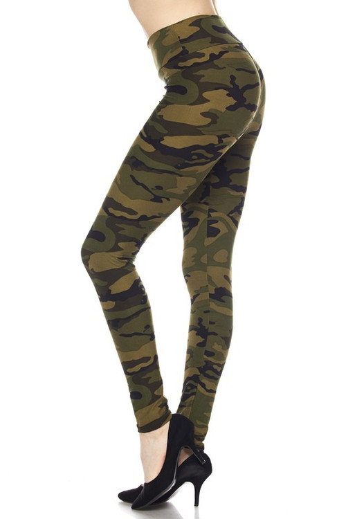 Wholesale - Buttery Soft Green Camouflage High Waist Leggings