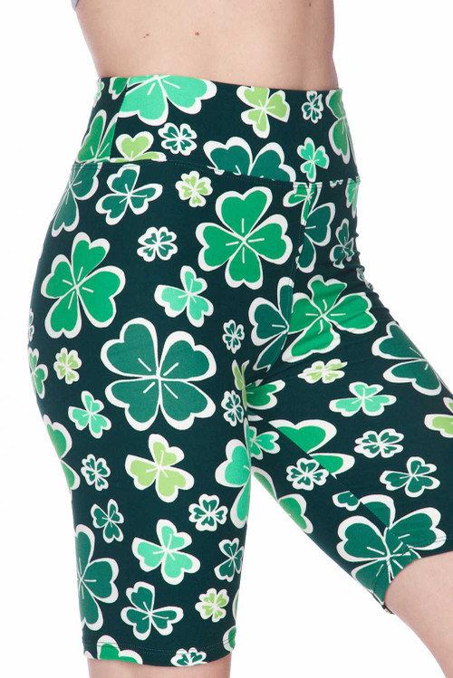 Wholesale - Buttery Soft Green Irish Clover Shorts - Plus Size - 3 Inch
