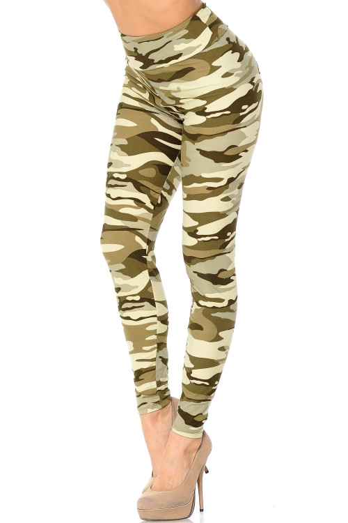 Wholesale - Buttery Soft Light Olive Camouflage High Waisted Plus Size Leggings