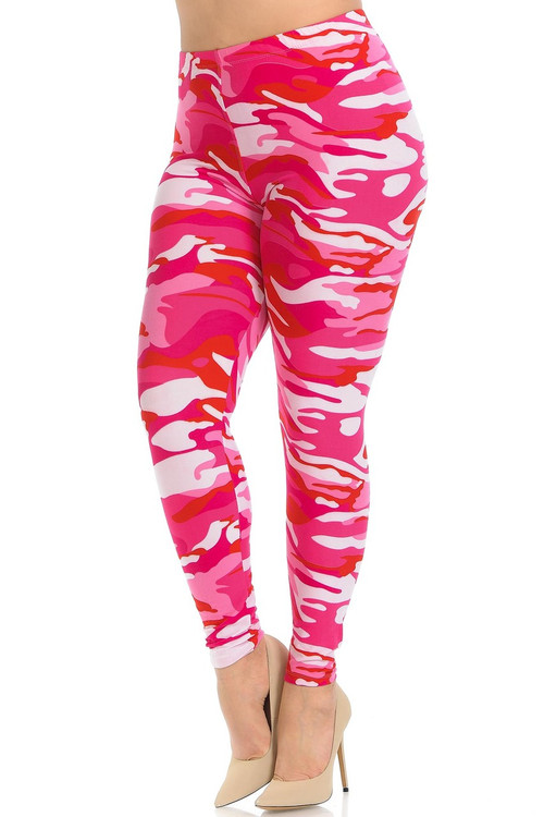 Wholesale - Buttery Soft Pink Camouflage Plus Size Leggings - EEVEE