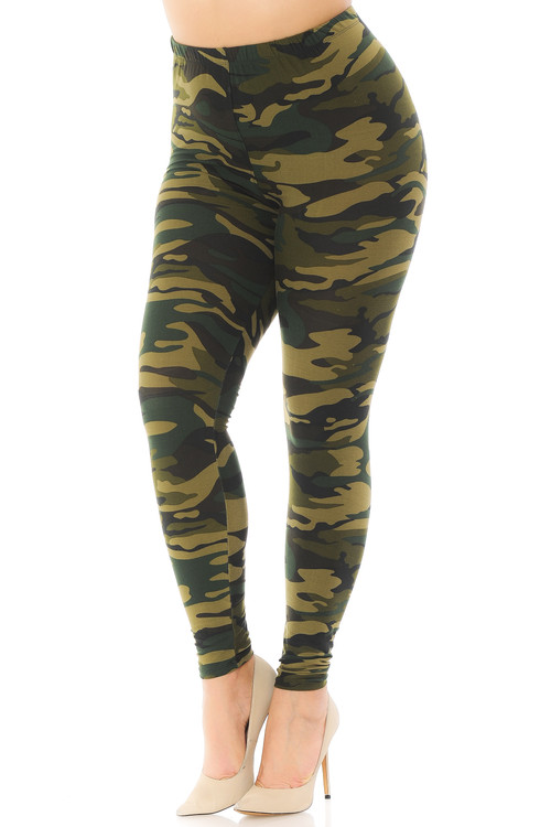 Wholesale - Buttery Soft Green Camouflage Plus Size Leggings - EEVEE