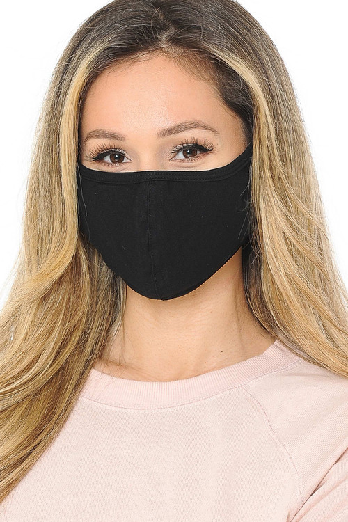 Black Wholesale - Unisex Cotton Face Mask with PM2.5 Filter Pocket - Made in USA