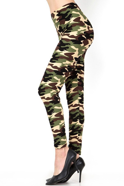 Wholesale - Buttery Soft Active Duty Green Camouflage Leggings