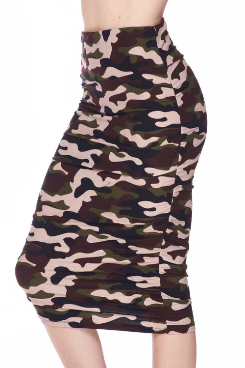 Wholesale - Buttery Soft Flirty Camouflage Pencil Skirt
