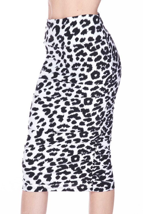 Wholesale - Buttery Soft Ivory Spotted Leopard Pencil Skirt