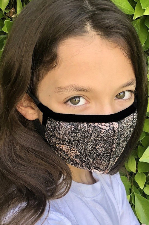 Wholesale - Kids Lace Knit Floral Face Mask - Made in the USA