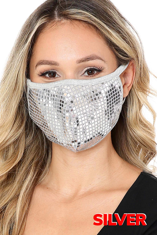 Silver Wholesale - Square Bling Sequin Fashion Face Mask - Made in USA