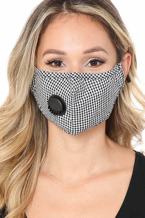 Black Wholesale - Checkered Plaid Face Mask with Air Valve