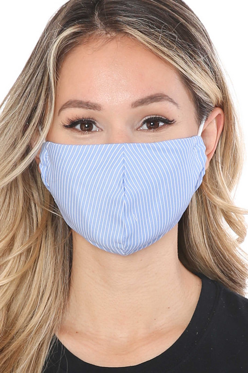 Wholesale - Thin Vertical Stripe Face Mask - Made in USA
