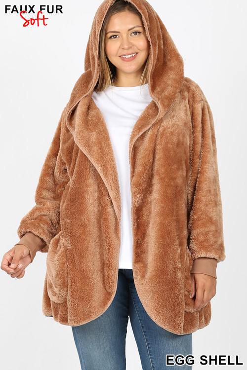 Front Image of Eggshell Wholesale - Faux Fur Hooded Cocoon Plus Size Jacket with Pockets