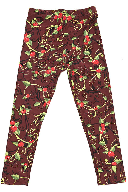 Wholesale - Buttery Soft Christmas Holly Kids Leggings