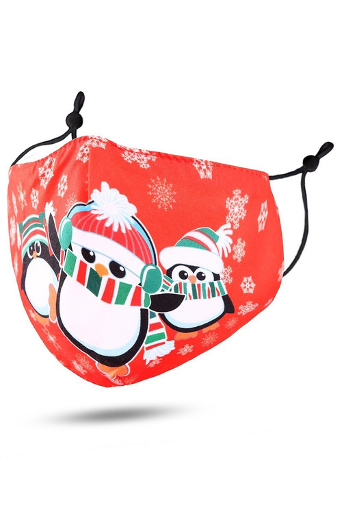 Wholesale - Red Christmas Penguins Face Mask