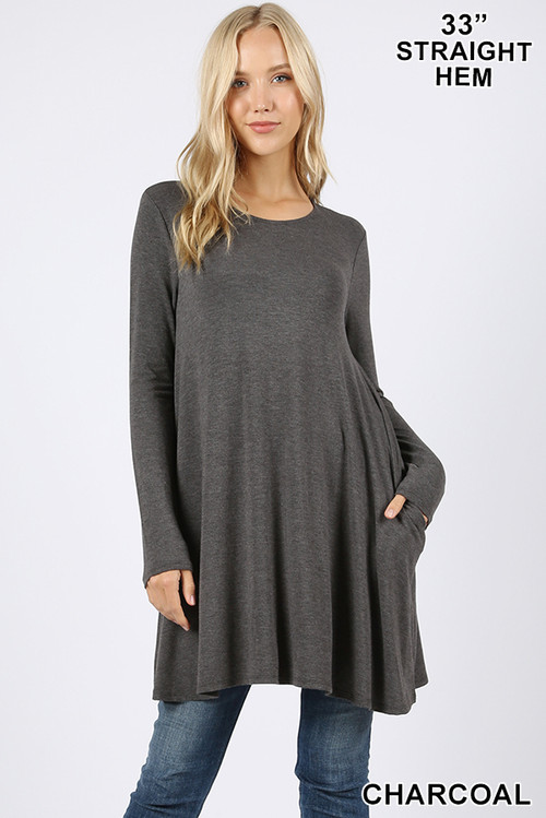 Front of Charcoal Wholesale - Long Sleeve Swing Tunic with Pockets