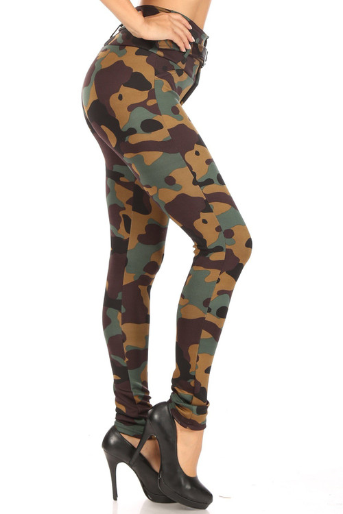 Wholesale - Brown Camouflage High Waist Belted Treggings