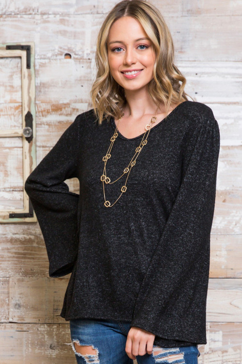 Wholesale - Marled Bell Sleeve V Neck Plus Size Top