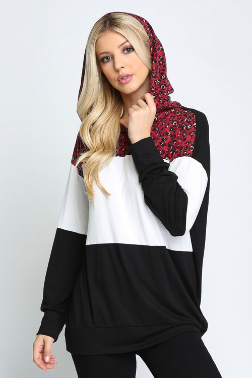 Wine Wholesale - Leopard Accent Color Blocked Hooded Long Sleeve Top