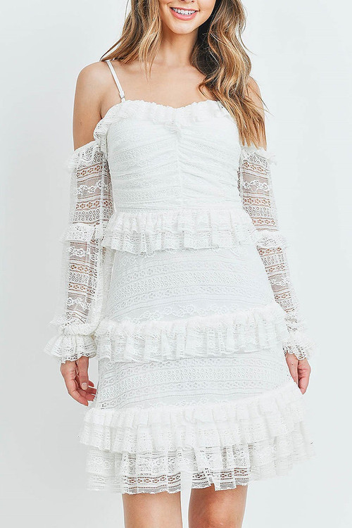 White Wholesale - Tiered Ruffle Off the Shoulder Lace Sleeve Dress